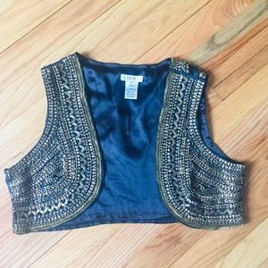 Cache gold sequin silk vest sz XS